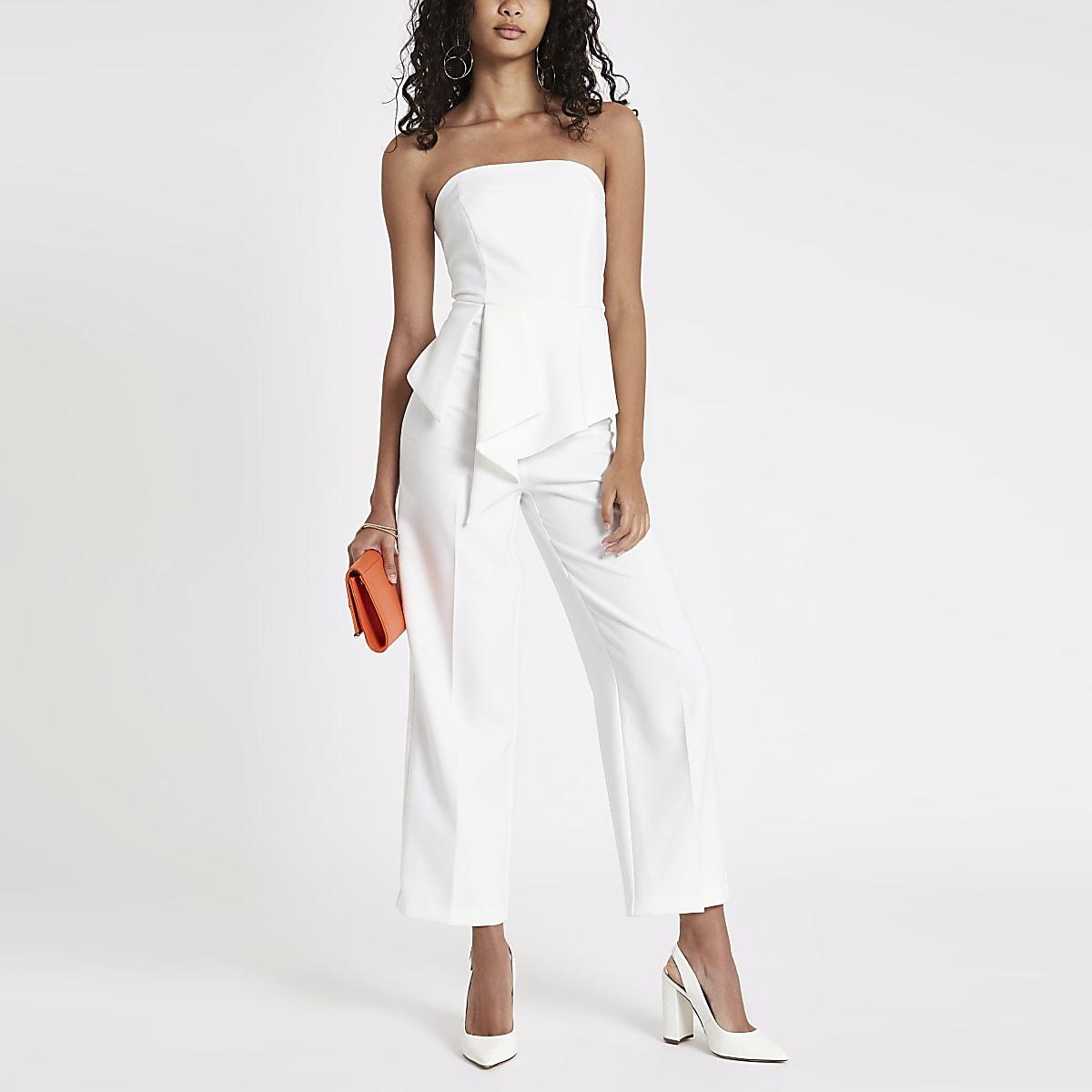 White frill front bardot jumpsuit