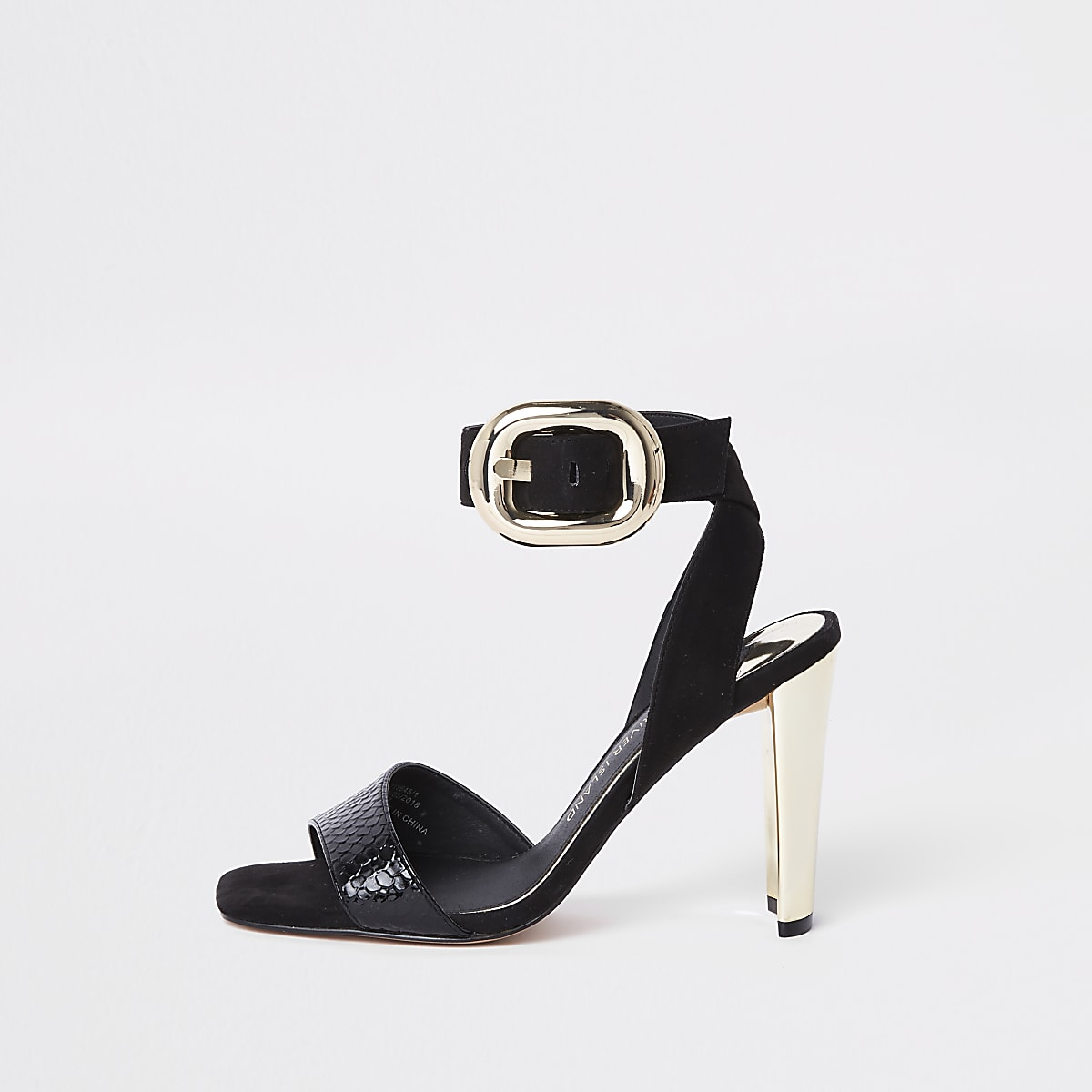 Black wide fit gold tone buckle sandal