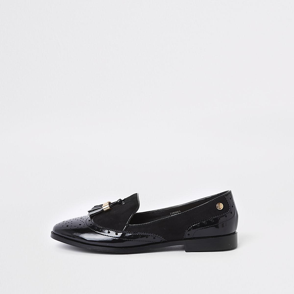 finest selection 7f107 a0d14 Black wide fit tassel patent shoes