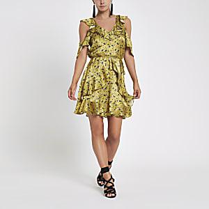 Petite yellow floral wrap tea dress