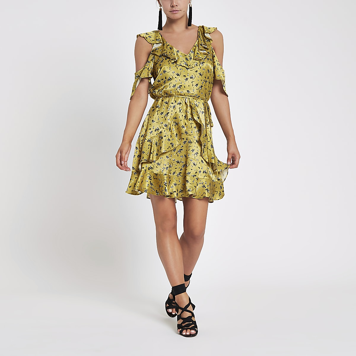 Petite yellow floral wrap tea dress