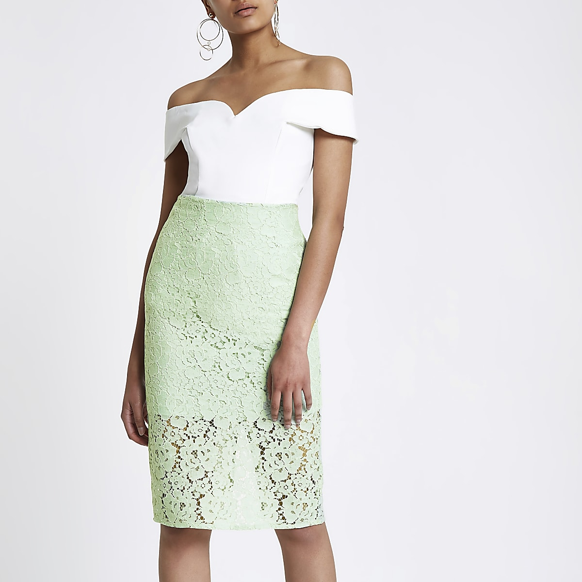 Green floral lace pencil skirt