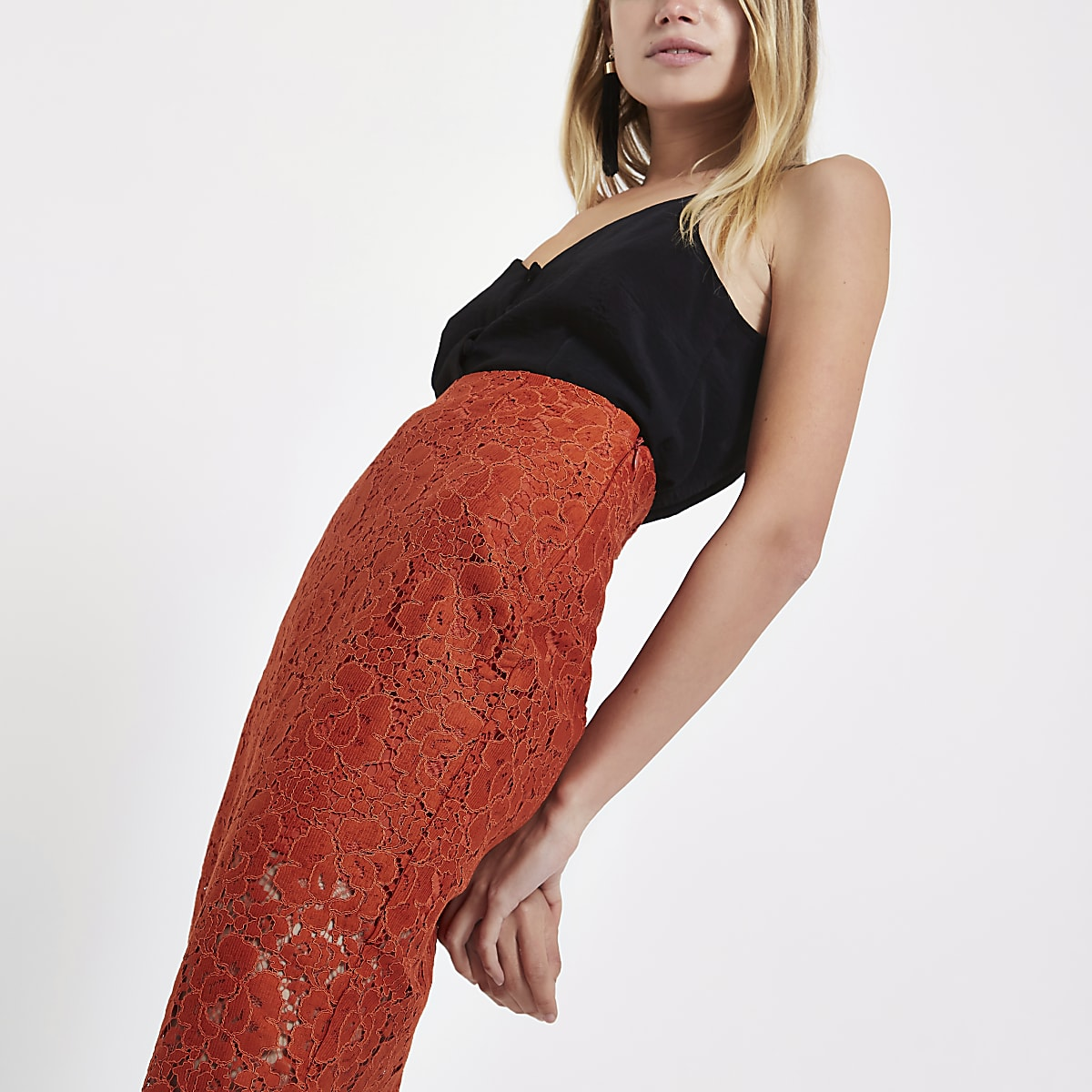 Dark orange floral lace pencil skirt