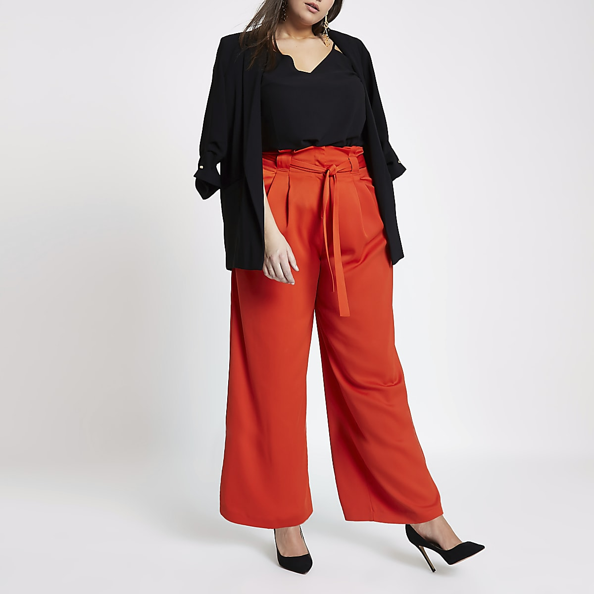 Plus red paperbag wide leg trousers