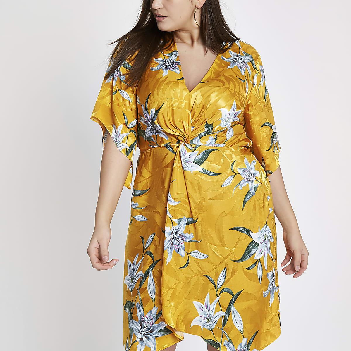 Plus yellow floral knot front kimono dress