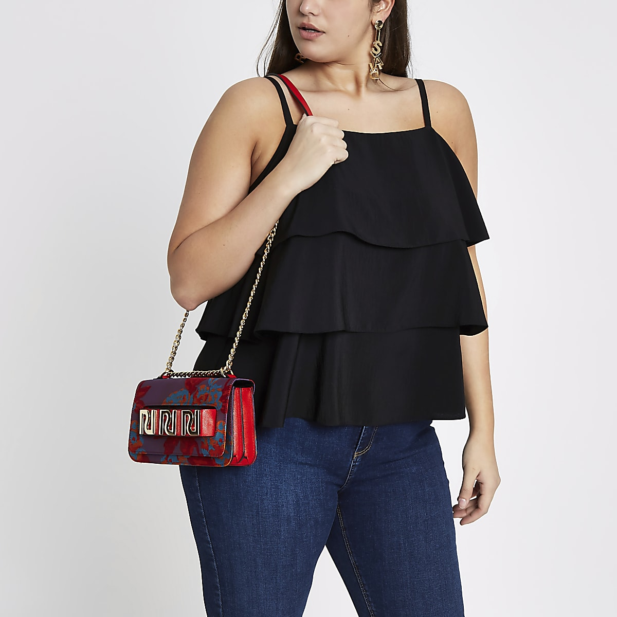 Plus black tiered frill cami top