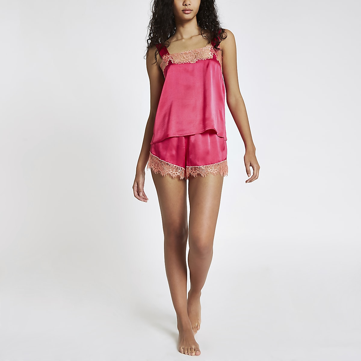 Pink lace cami pajama top