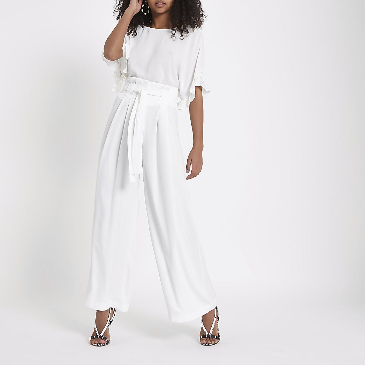 482ac9078e61d Pantalon large blanc à taille haute ceinturée - Pantalons larges ...