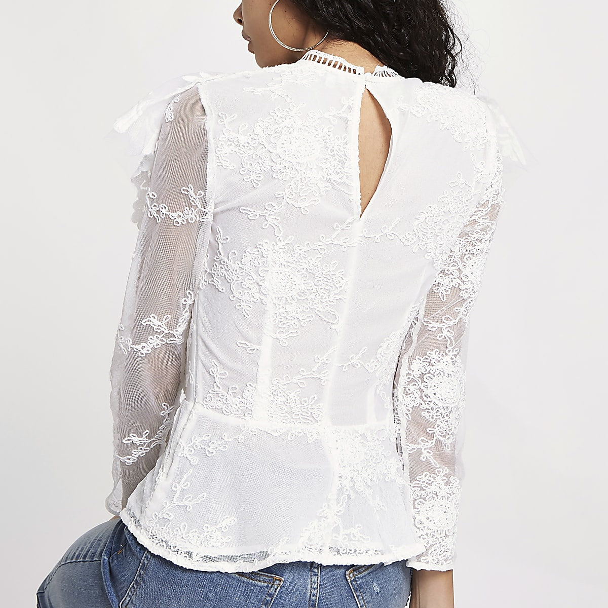 ed014d3c9430bd White lace long sleeve frill top - Blouses - Tops - women