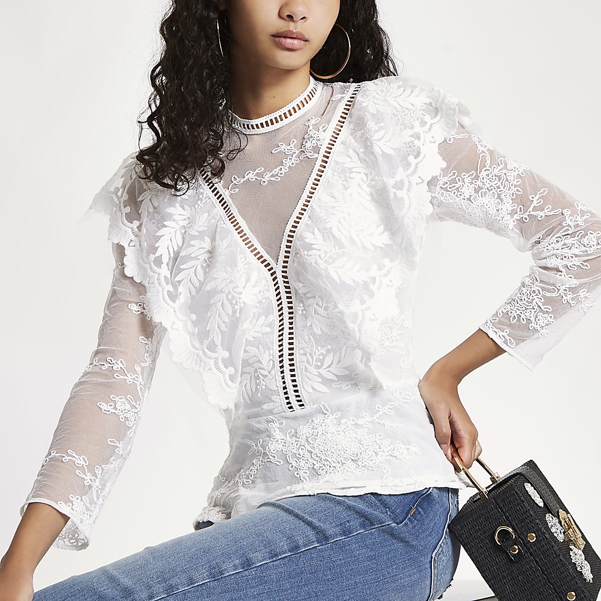 f79eb5f8088892 White lace long sleeve frill top White lace long sleeve frill top ...