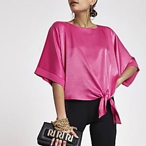Pink satin knot side T-shirt