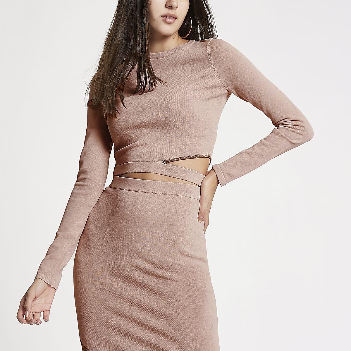 Pink knit cut out shoulder crop top