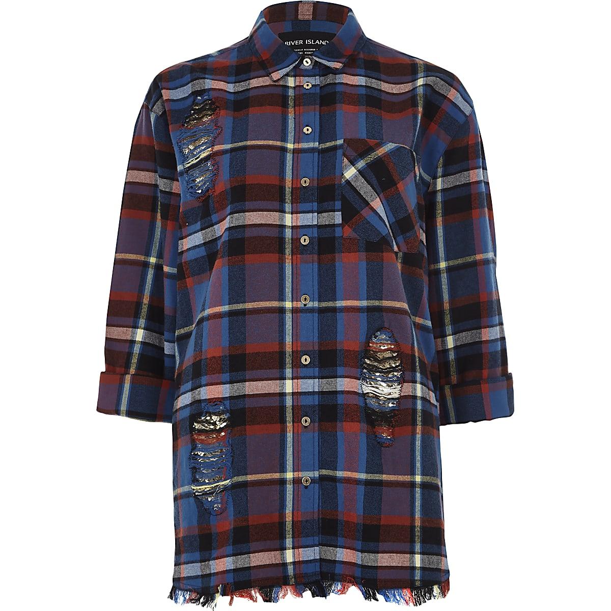 Blauw geruit overhemd met lange mouwen en onafgewerkte zoom