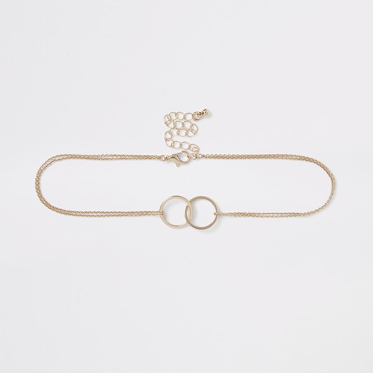 Gold colour chain interlink circle choker