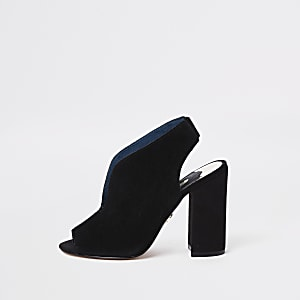 Black suede wide fit curve vamp shoe boots
