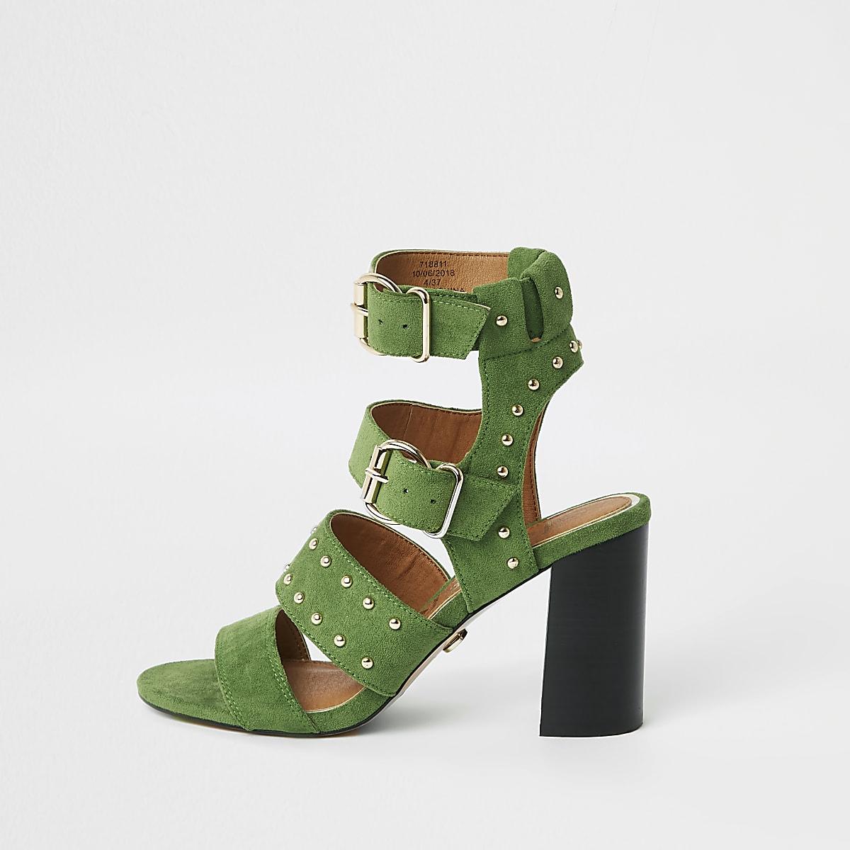 Green wide fit suede stud block heel sandals