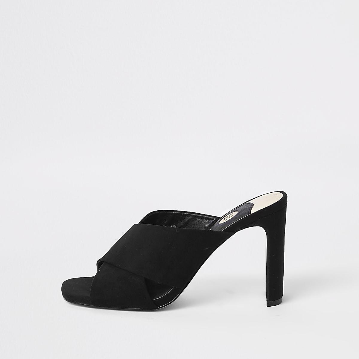 Black cross strap slim heel mule sandals