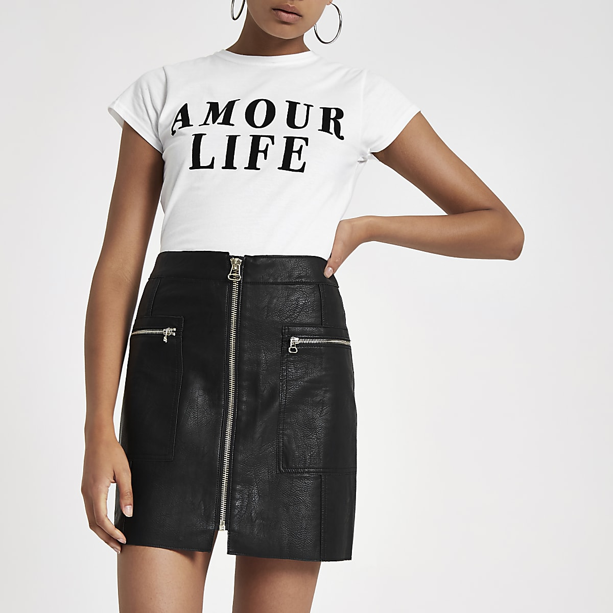Black zip pocket biker mini skirt