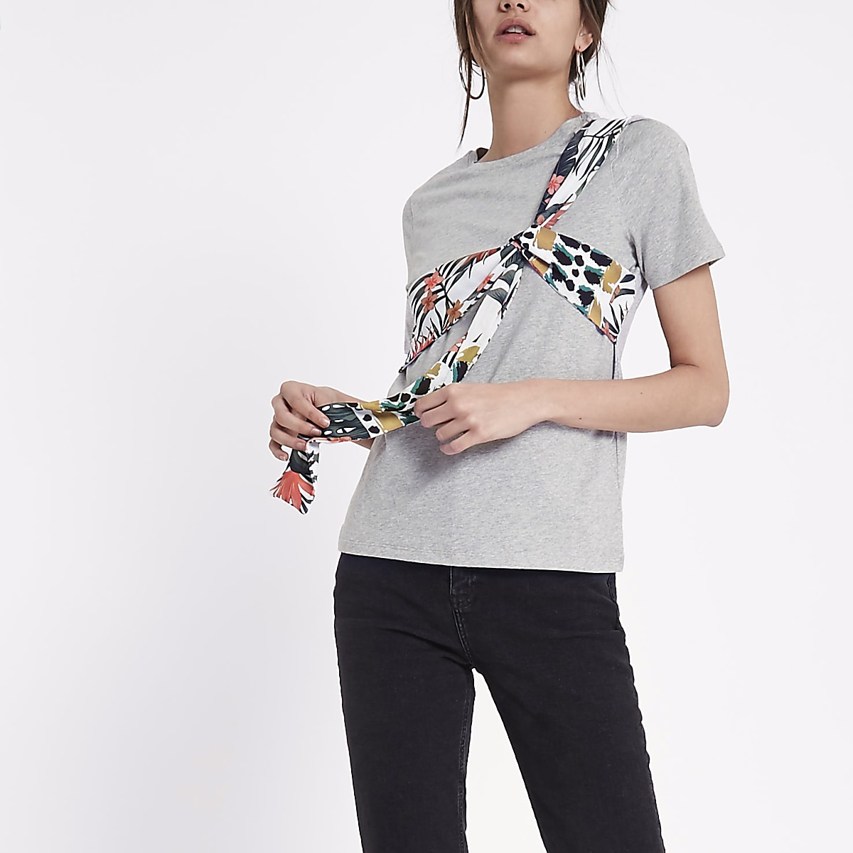 Grey floral print bow front T-shirt