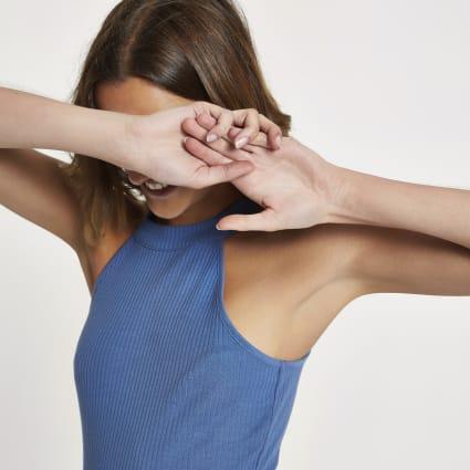 Blue ribbed halter neck crop top