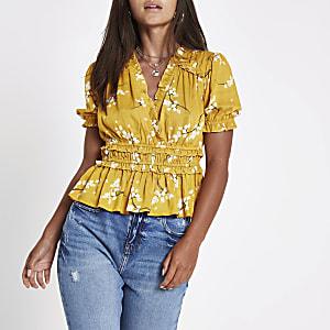 Petite yellow floral ruffle crop top