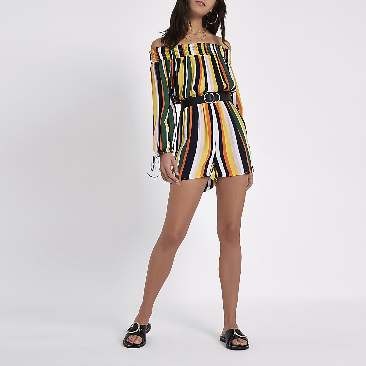 afd359d79e Yellow stripe bardot playsuit - Playsuits - Playsuits   Jumpsuits - women