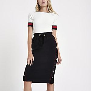 Black popper velvet side pencil skirt
