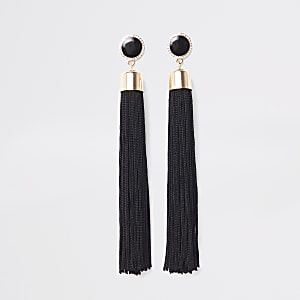 Black tassel drop stud earrings