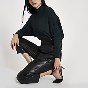 Dark green ribbed knit high neck jumper