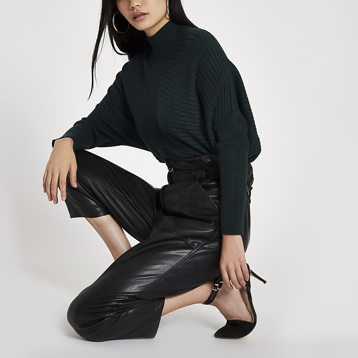 Dark green ribbed knit high neck jumper