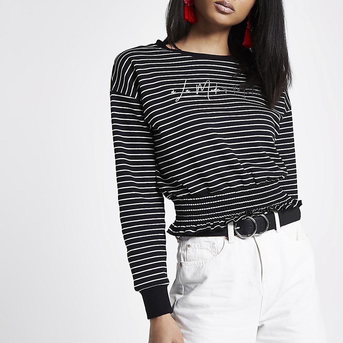 Black stripe 'la moderne' cropped sweater