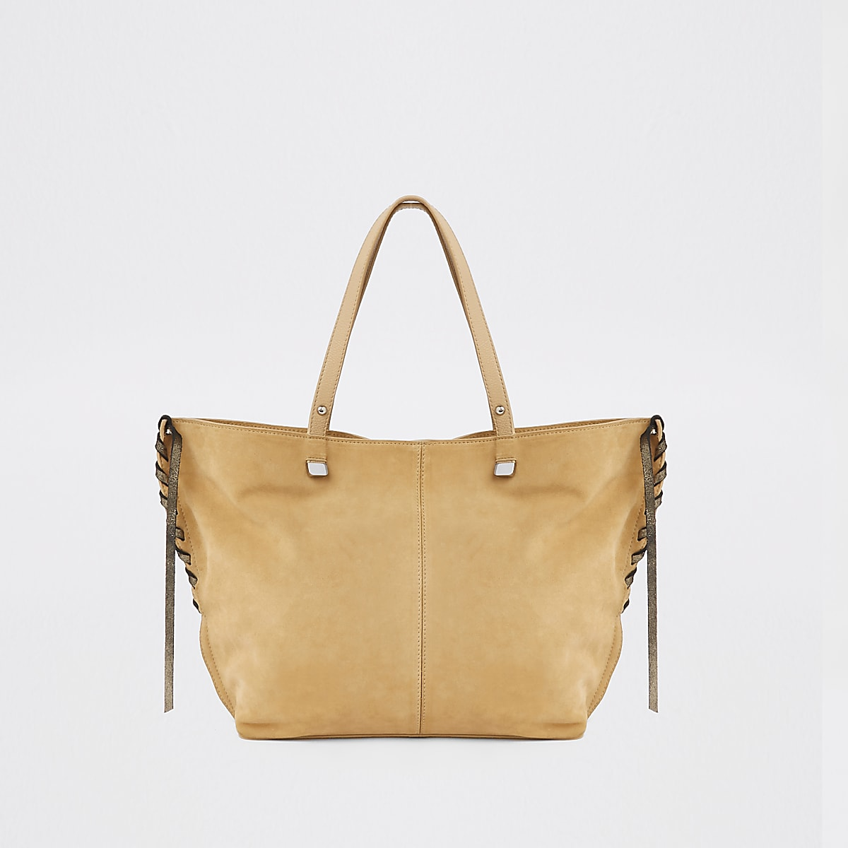 Light brown leather tote bag