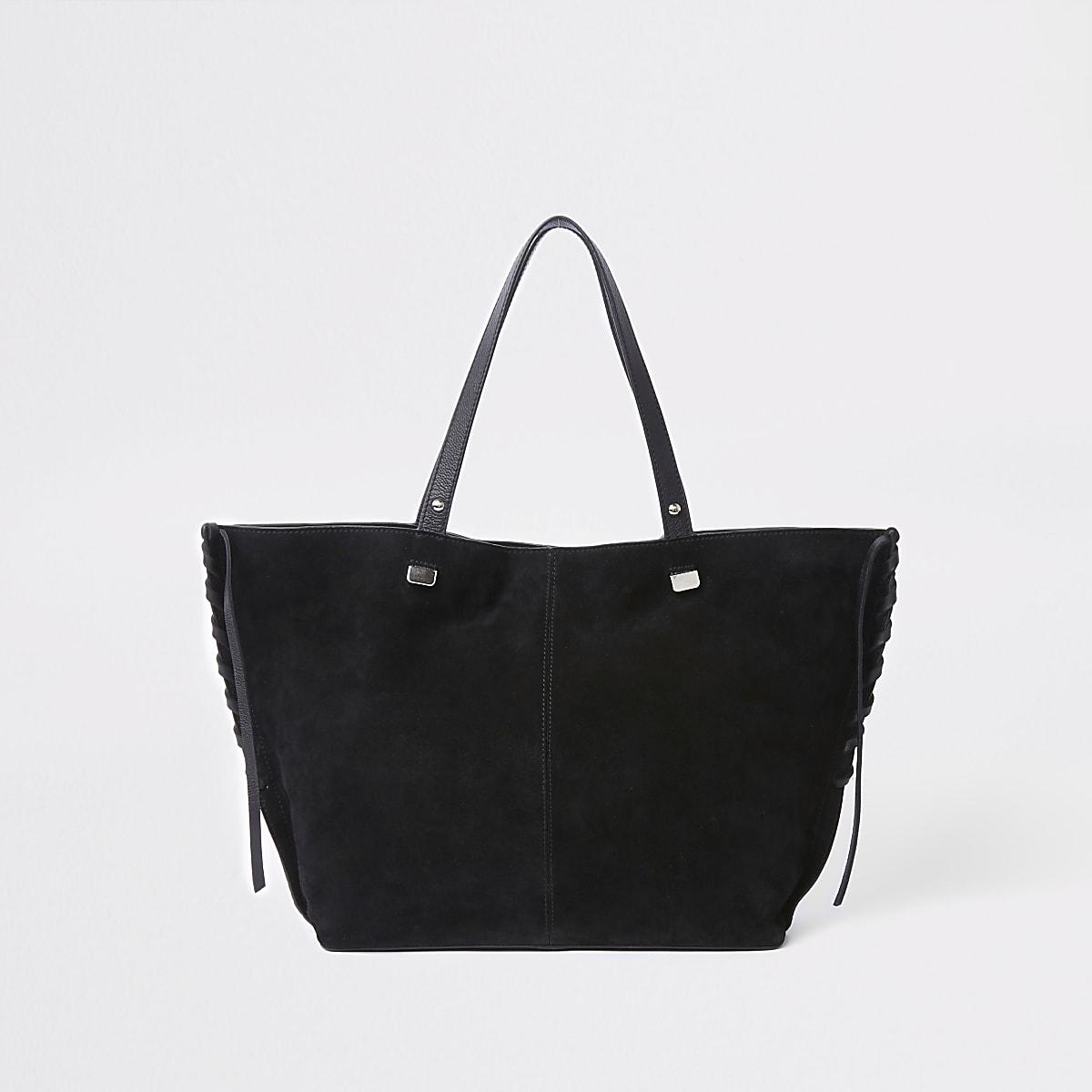 Schwarze Tote Bag aus Wildlederimitat