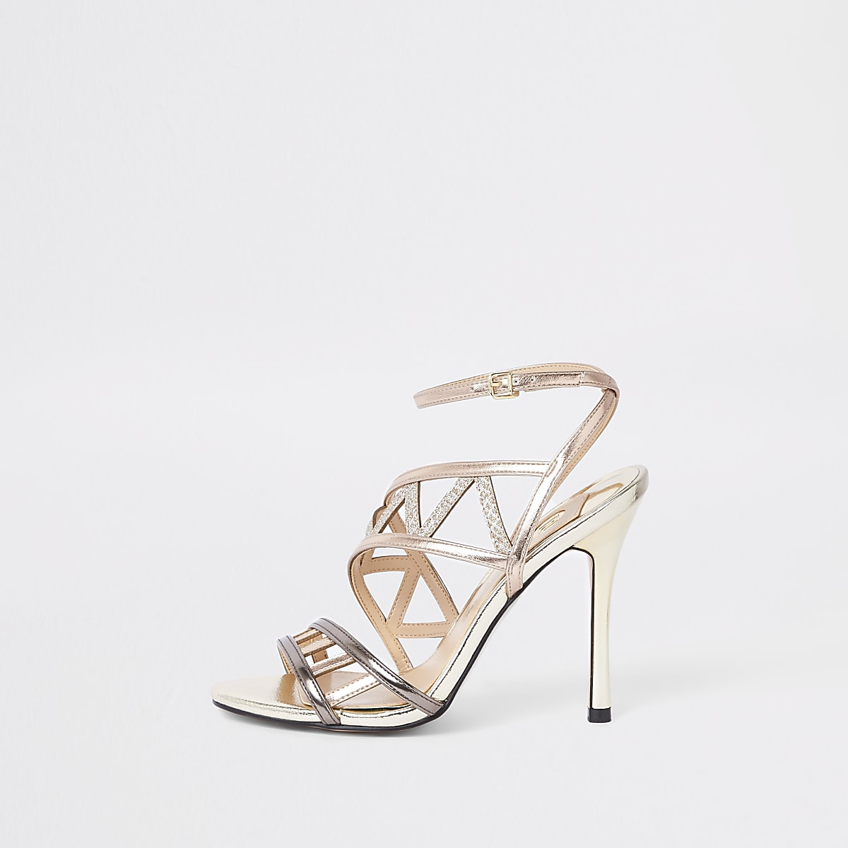Rose gold tone strappy sandals