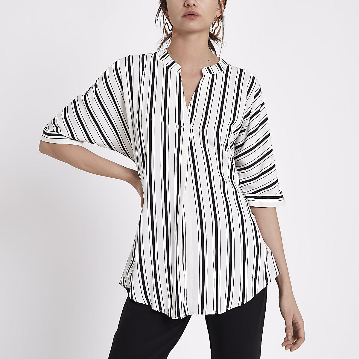 Black stripe short sleeve twist back blouse