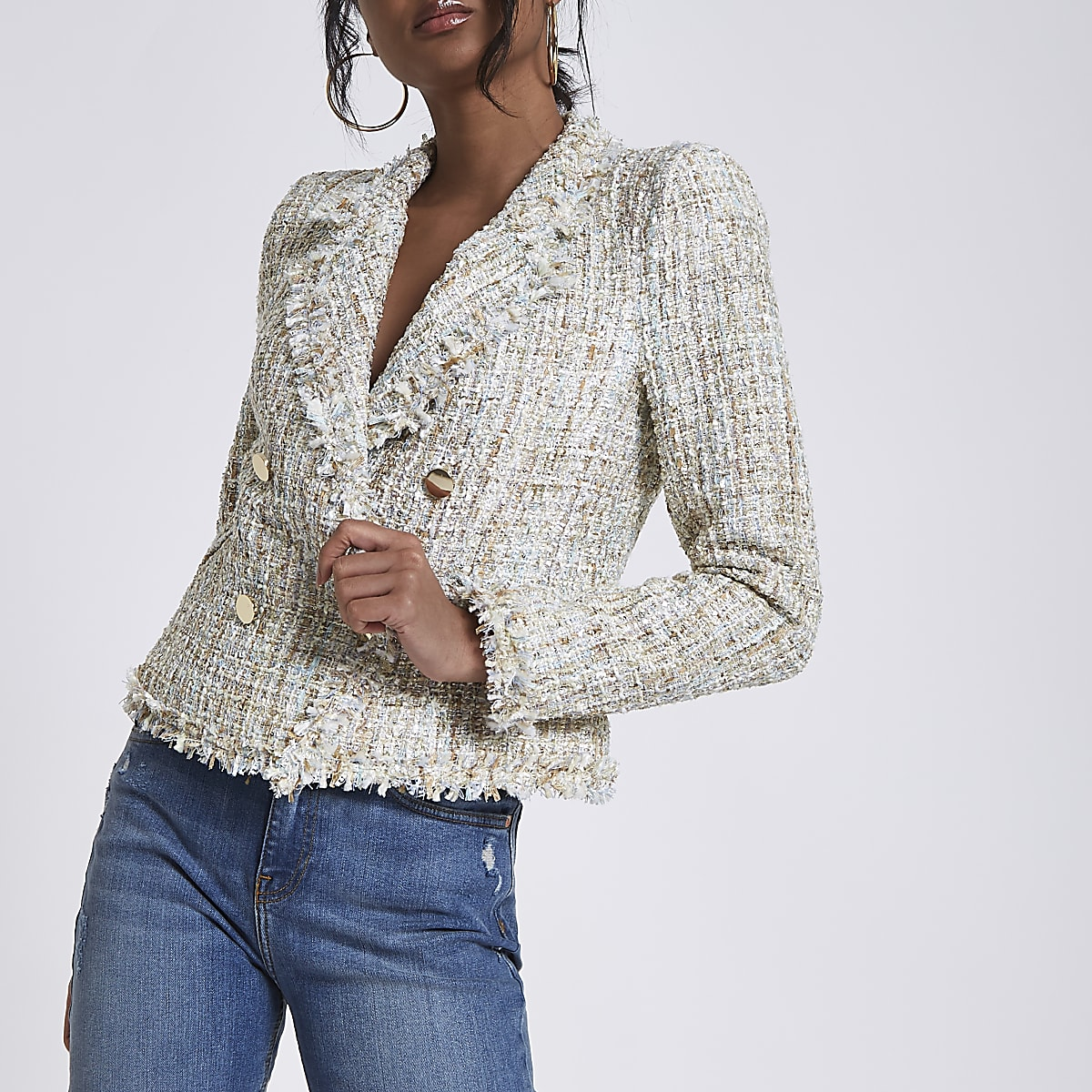Cream boucle double-breasted fitted jacket