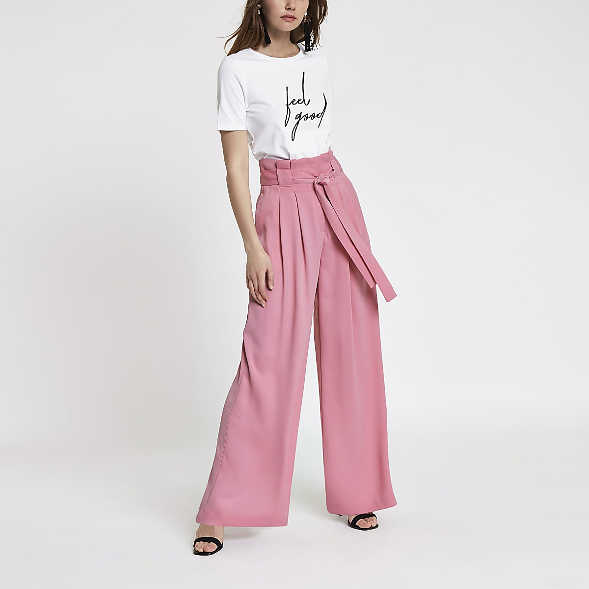 Pink paperbag waist wide leg trousers