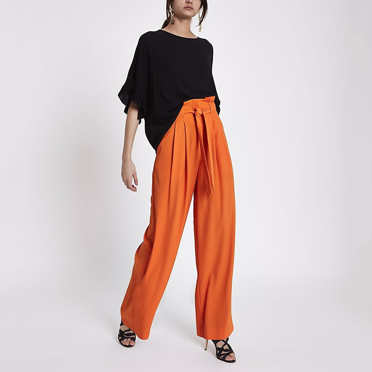 6ed1fa48a1 Orange paperbag waist wide leg trousers - Wide Leg Trousers - Trousers -  women