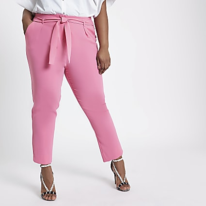 Plus pink tie waist tapered trousers