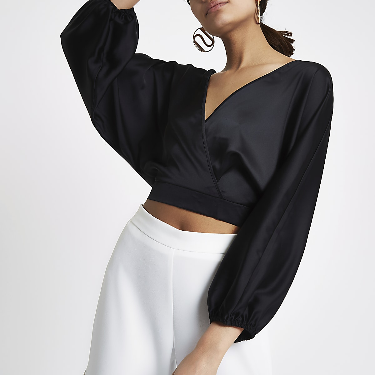 63f20f46e01b59 Black wrap front balloon sleeve crop top - Crop Tops   Bralets - Tops -  women
