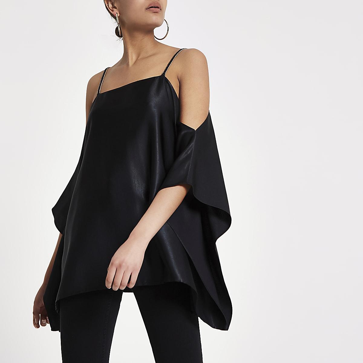 e82082ad973cb Black satin cold shoulder cami top - Bardot   Cold Shoulder Tops - Tops -  women