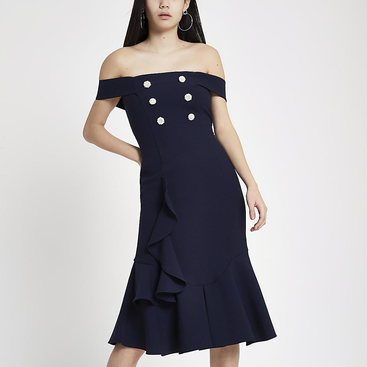 Navy pearl embellished bardot bodycon dress