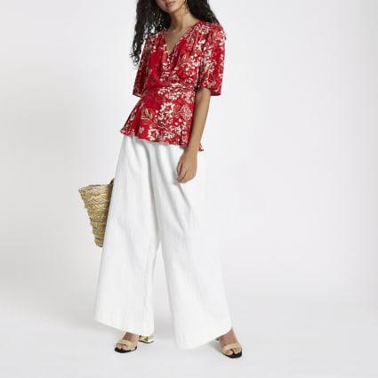 Red floral kimono sleeve wrap blouse