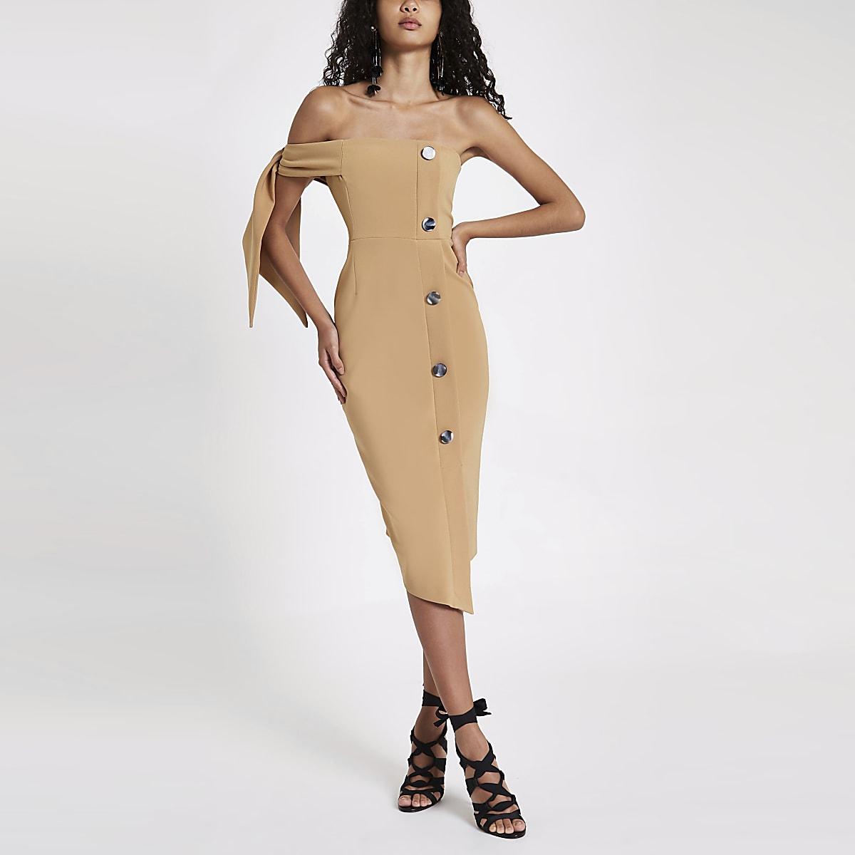 Beige bandeau midi-jurk met strikjes aan de mouwen