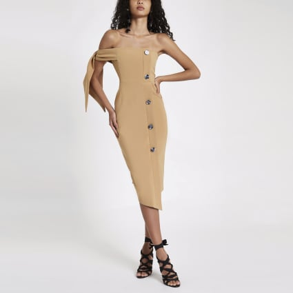 Beige tie sleeve bandeau midi dress