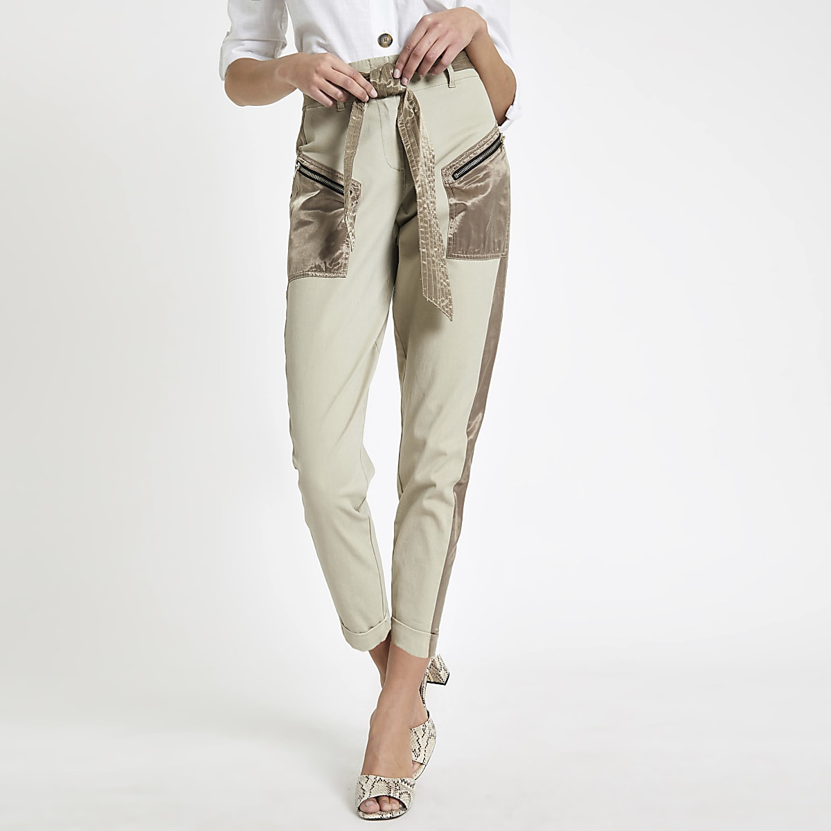 Beige satin detail belted cargo pants