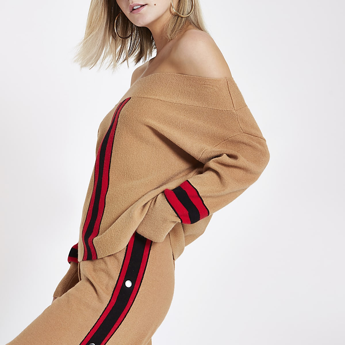 Petite camel stripe knitted bardot top