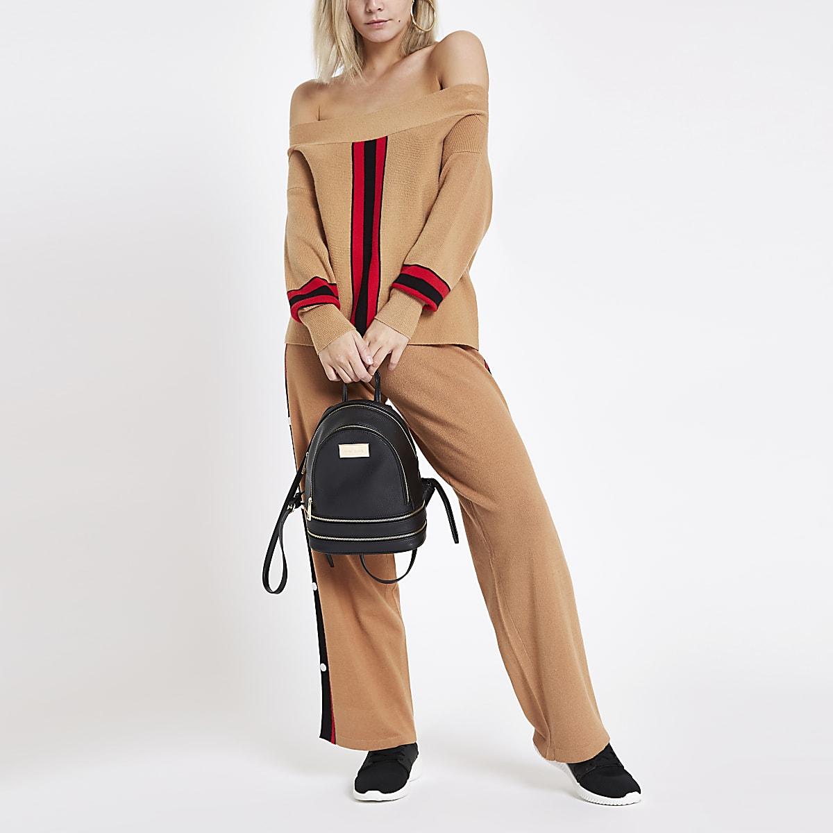 9f76941bf391d5 Petite camel stripe knitted bardot top - Knit Tops - Knitwear - women
