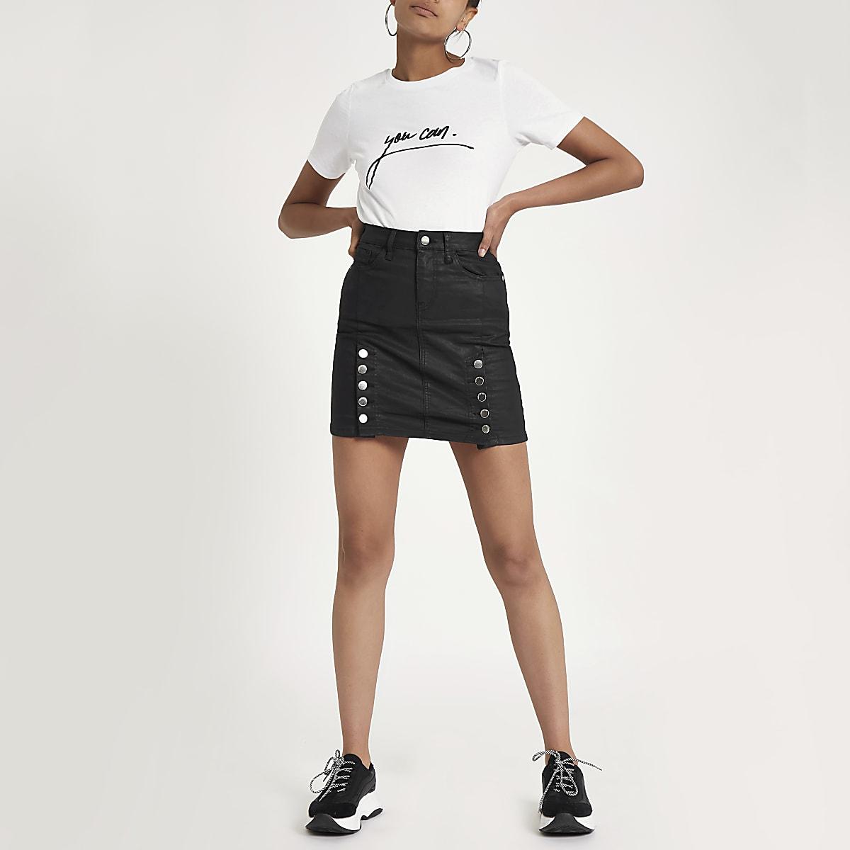 competitive price 15b89 b0155 Black coated denim high rise mini skirt