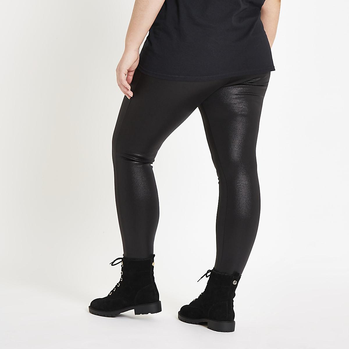 d2cd08064cd73 Plus – Legging noir enduit taille haute - Leggings - Pantalons - Femme